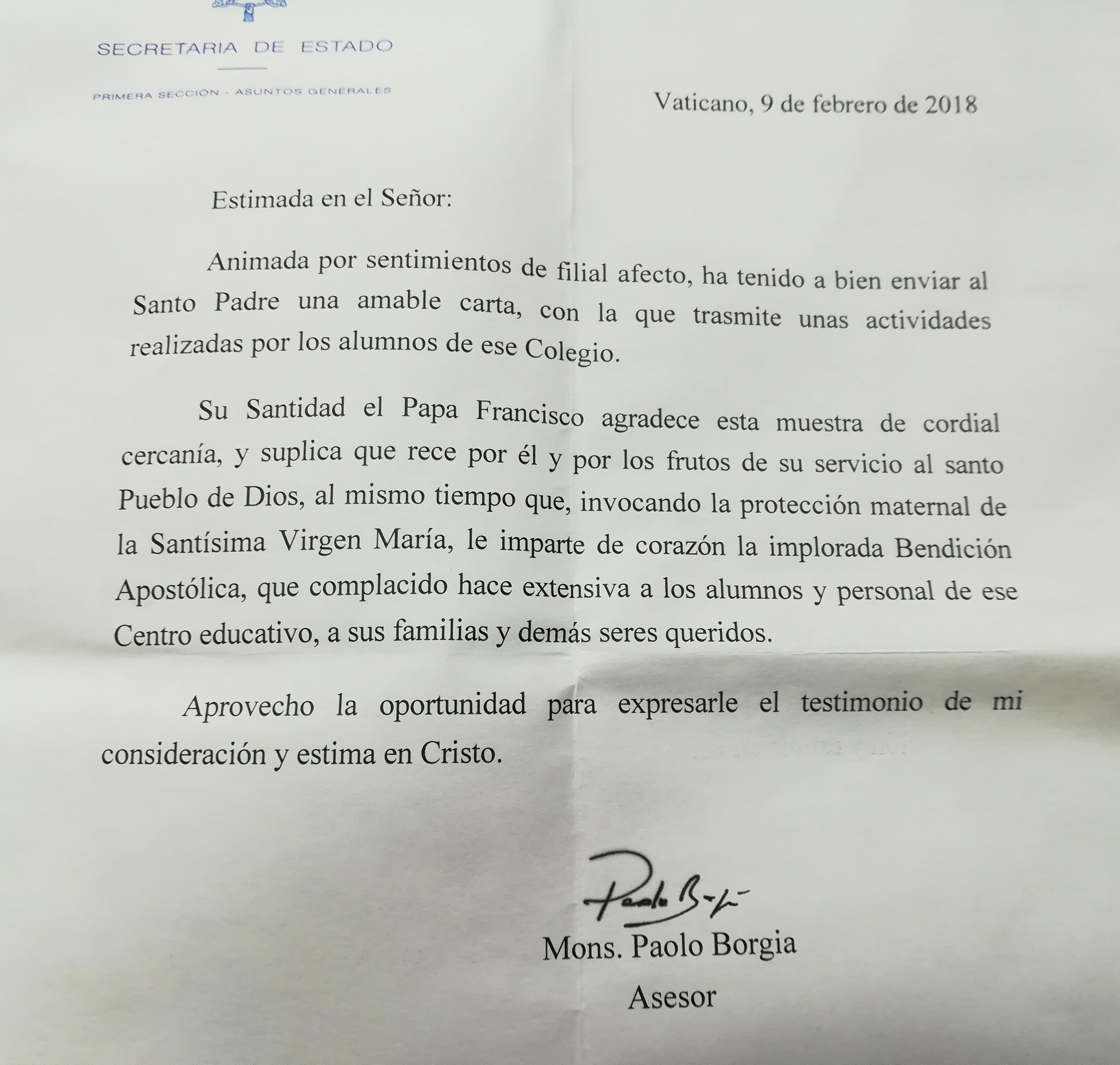 Hem rebut una carta del Papa Francesc!