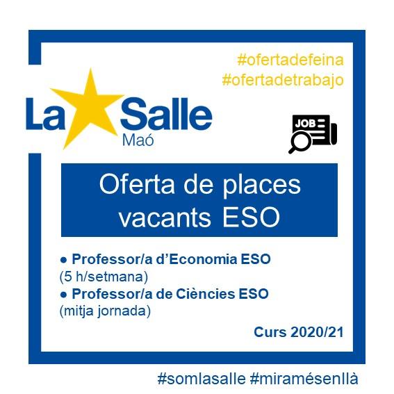 Comunicació d'oferta de places vacantes 2020-21