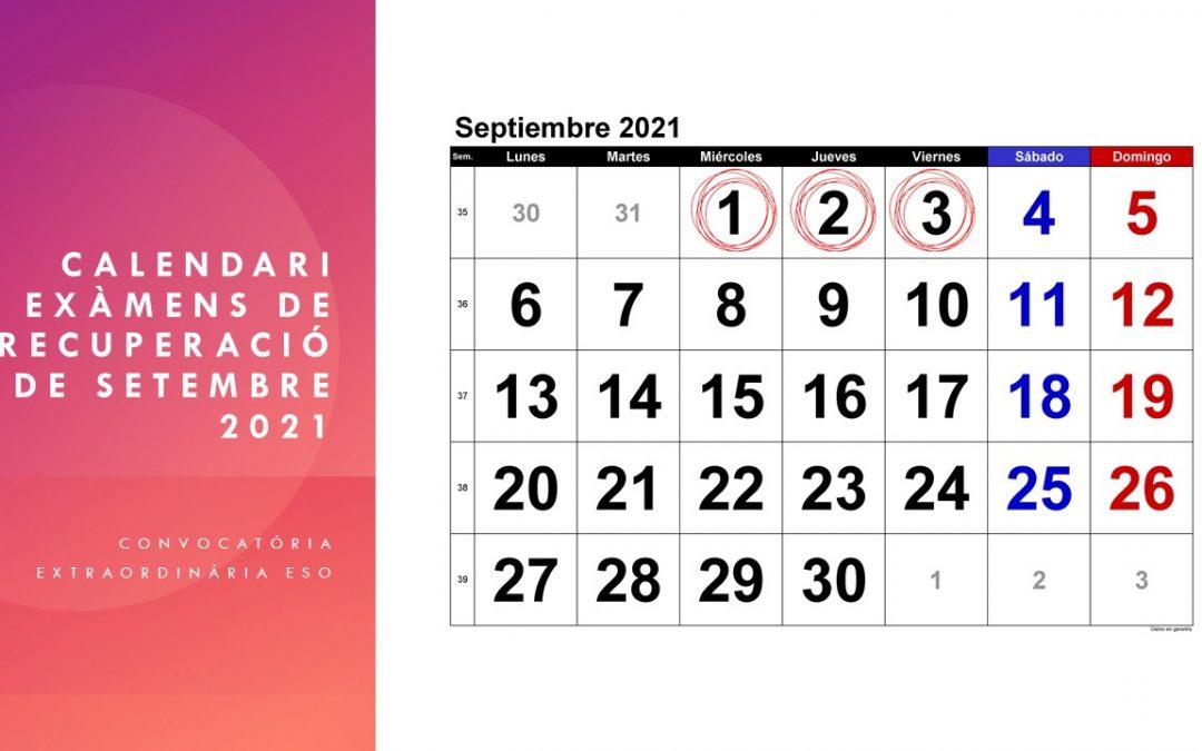 Calendari exàmens setembre ESO 2021